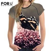 Forudesigns đen bướm prints phụ nữ ngắn tay mùa hè t áo sơ mi thời trang casual tee áo đàn hồi feminina t-shirt clothing