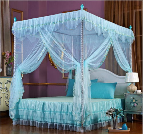 Light Green Flower Four Corner Post Bed Canopy Mosquito Netting Whit Frame Post : green bed canopy - memphite.com