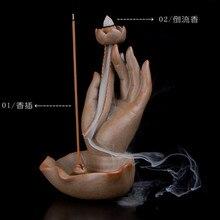 backflow incense holder room fragrance humidifier ceramic buddha incense burners Buddhism hand incense stick holder diffuser