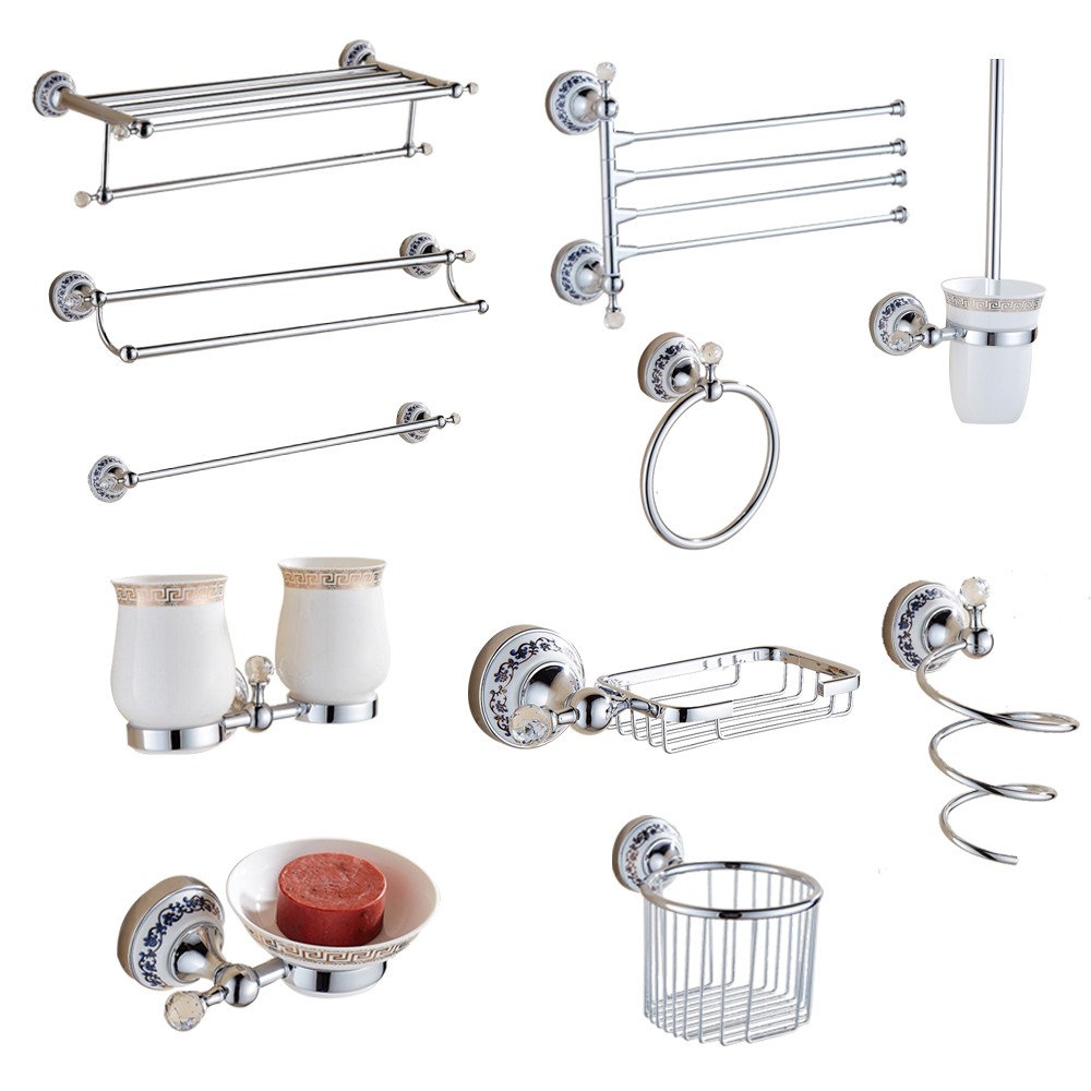 Silver Crystal Bathroom Hardware Set European Chrome Finish Ceramic Plate Antique Bathroom Accessories Hanging Suit T345 simple bathroom ceramic wash four piece suit cosmetics supply brush cup set gift lo861050