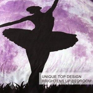 Image 3 - Blesslliving Juego de ropa de cama de Ballet, edredón gigante de Luna púrpura, cubrecama de baile para niña, juego de cama elegante con Galaxia y cielo nocturno, 3 uds.
