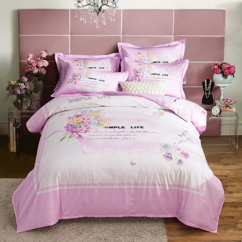 Pink Floral Printed Bedding Set 4pcs Queen King Size Cotton Duvet Covers Bed Sheets with Pillowcase Home TextilesPink Floral Printed Bedding Set 4pcs Queen King Size Cotton Duvet Covers Bed Sheets with Pillowcase Home Textiles