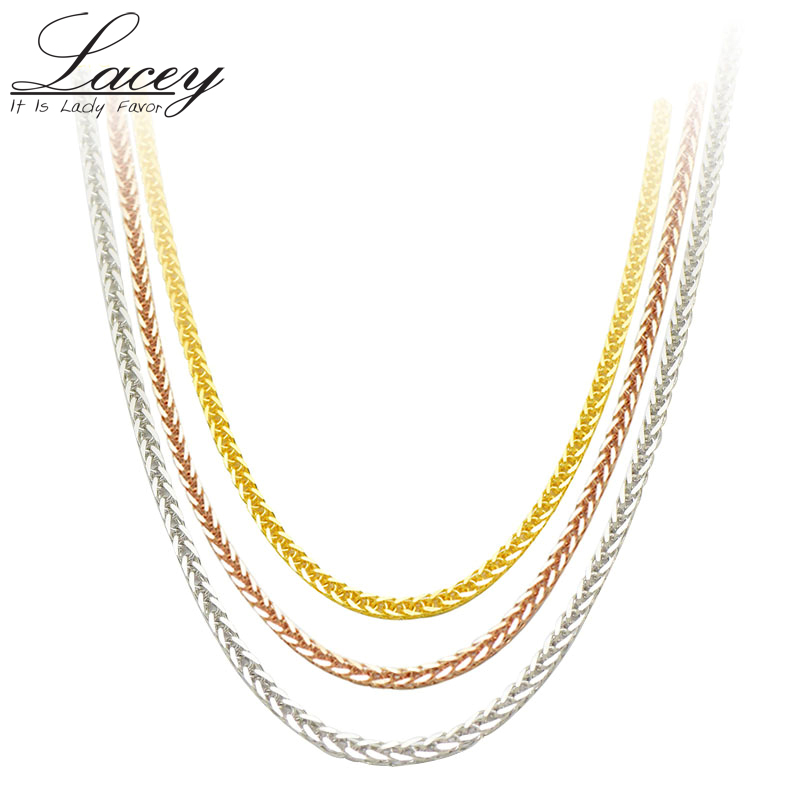 Настоящее 18 К золотое ожерелье цепочка 18 дюйм(ов) au750 ожерелье для женщин, розовое золото Белое золото Желтое золото цепь ожерелье ювелирные ...