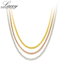 Real 18K Gold Chain Necklace 18 inches au750 necklace for Women ,rose gold white yellow chain jewelry gift