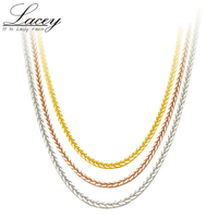Real 18K Gold Chain Necklace 18 inches au750 necklace for Women ,rose gold white gold yellow gold chain necklace jewelry gift
