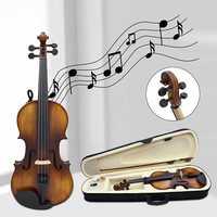 4/4 High grade Spruce Solid Wood Astonvilla AV 506 Vintage Violin Case Bow Rosin Set for Beginners Professional Players Bow