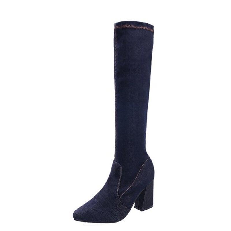 Ayakk.'ten Diz Hizası Çizmeler'de Ho Ağır Kadın Botları 2019 Moda Yeni Stil Sivri Burun Kare Topuk Ayakkabı Kadın Diz yüksek Batı Botları Popüler denim Ayakkabı'da  Grup 1