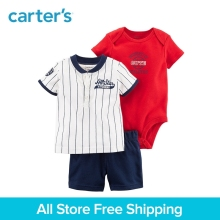3pcs sports&slogans Set Tee short bodysuit Carter's Boy baby children kids Summer clothing sets 121I400
