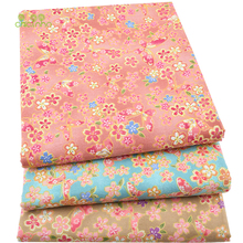 3pcs/lot,Twill Cotton Fabric Patchwork Bronzing Tissue Cloth Fat Quarter Bundle Of Handmade DIY Quilting Sewing Textile Material(China)