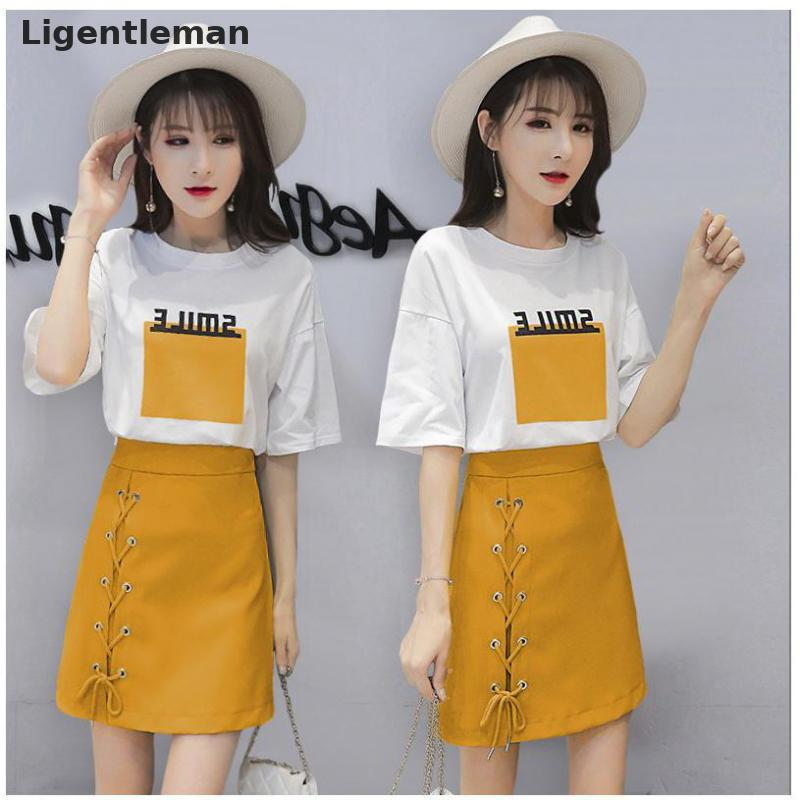 Summer Women 2pcs Skirt Set Yellow Pullover O neck Short Sleeve Lace Up Ladies T Shirt Sets For Female 357