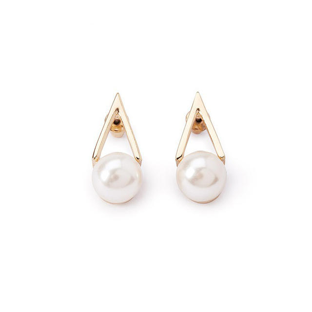 New Fashion Gold Color Geometric V Earrings Pearl White Stone Stud For Women Jewelry 8662
