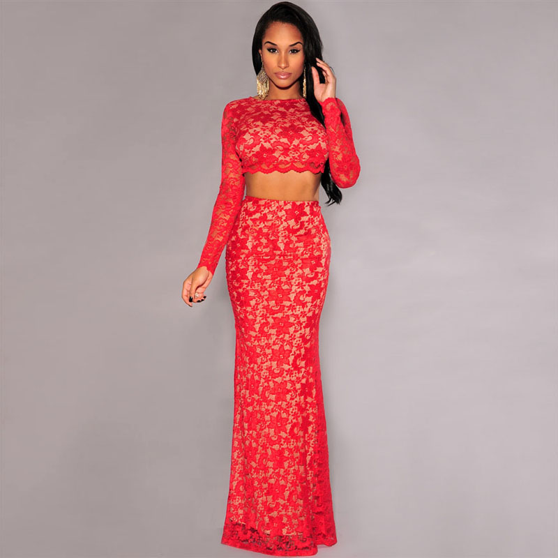 Cute Two Piece Prom Dress Red