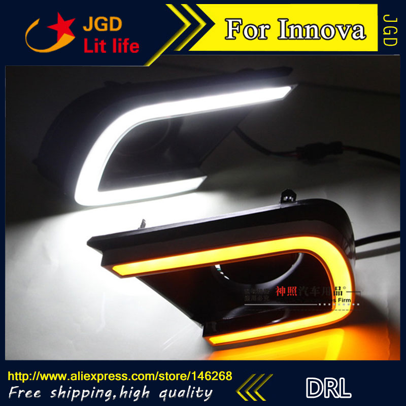Free shipping ! 12V 6000k LED DRL Daytime running light for Toyota INNOVA 2014 2015 fog lamp frame Fog light for toyota innova 2013 2014 2015 turn