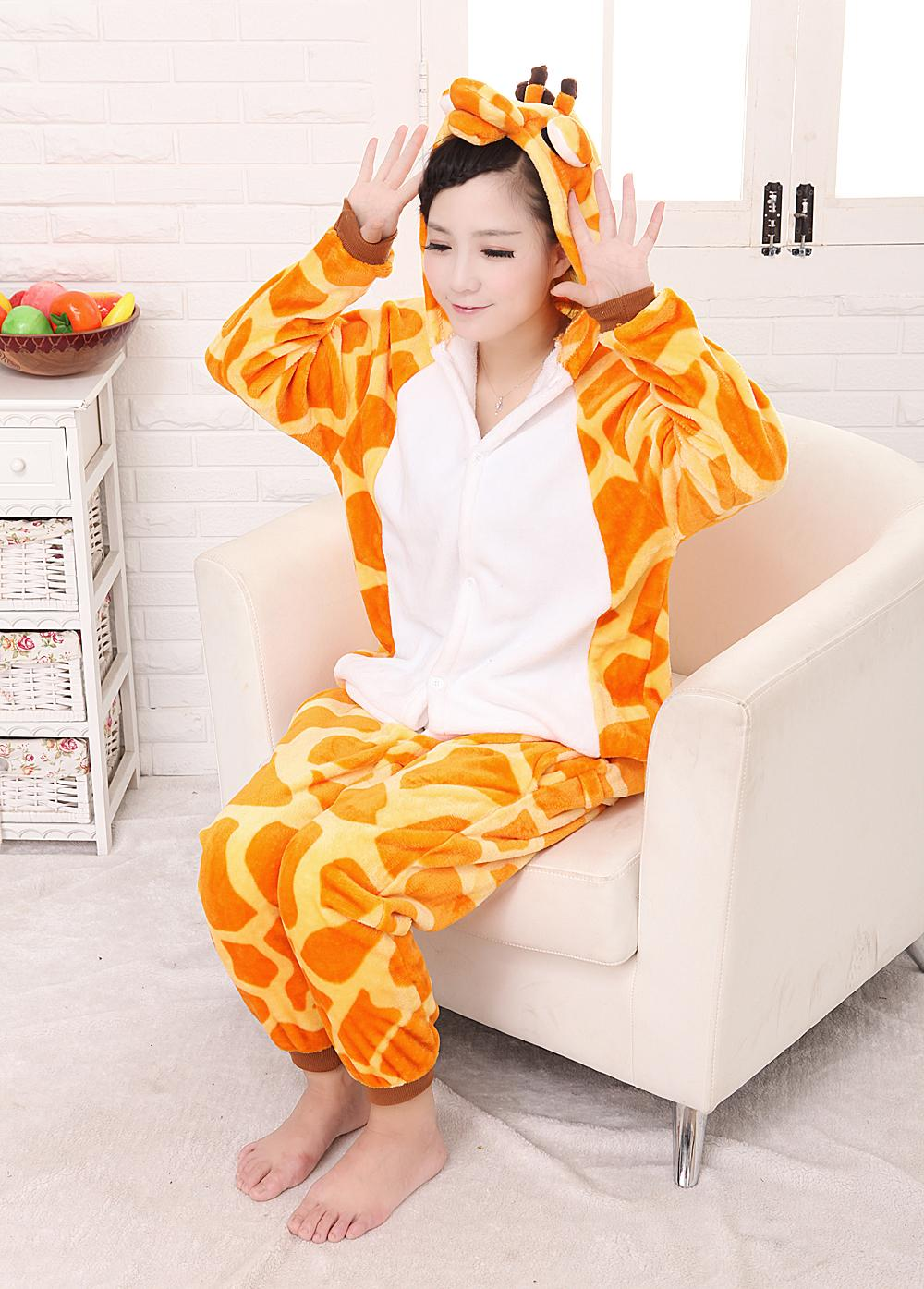 free shipping Giraffe Pajamas Adults Flannel Pyjama Suits Cosplay Costumes Garment Cute Cartoon Animal Onesie