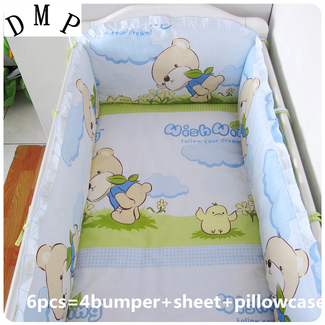 Promotion! 6PCS Bear Baby Bedding Set For baby with pillow set Bed Sets Sheet Bedding Set (bumper+sheet+pillow cover) bear print bedding set