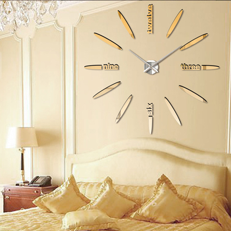 lujo diy gran superficie del espejo del reloj de pared d sticker home room decoration