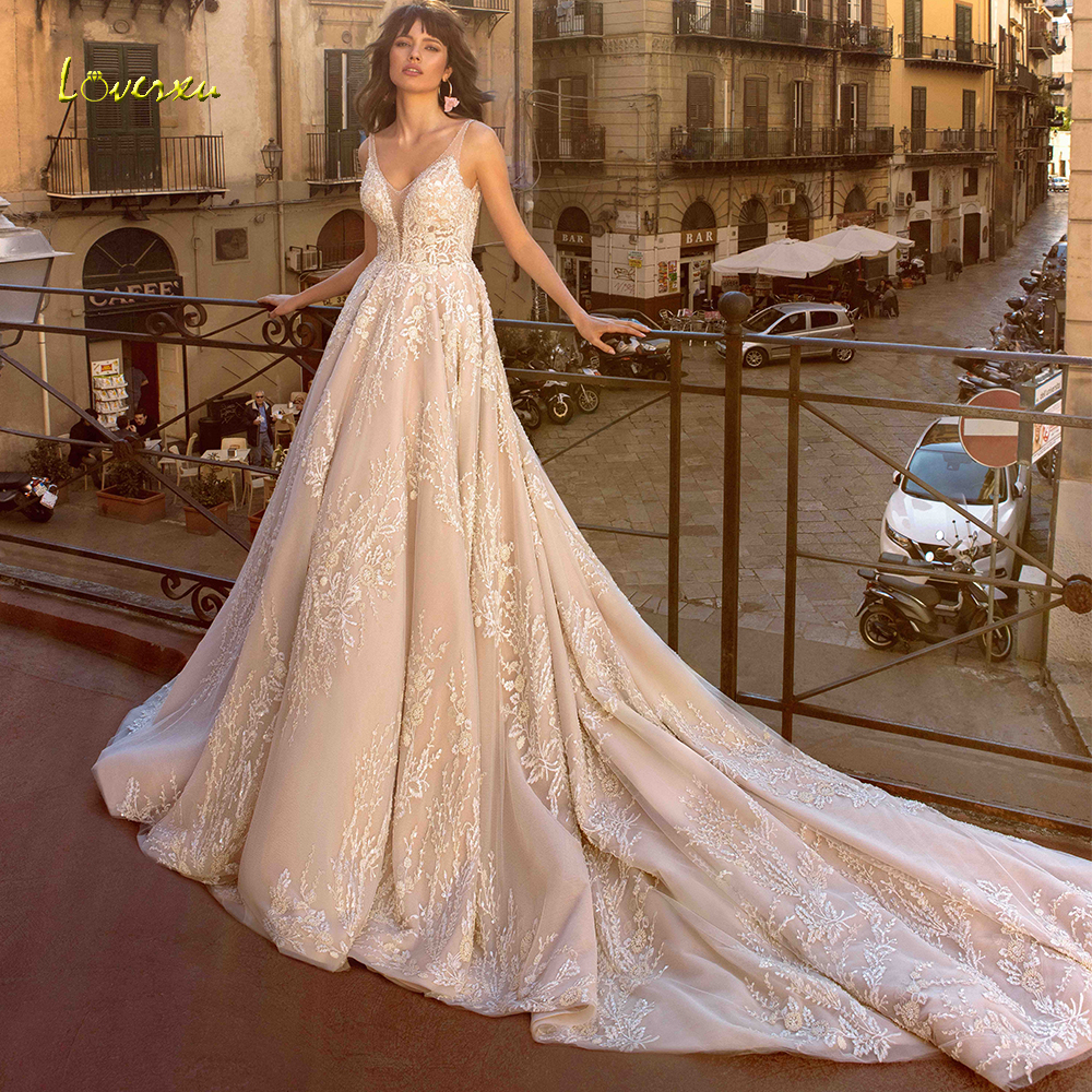 Loverxu V Neck A Line Wedding Dress Chic Applique Beading Tank Sleeve Backless Bride Dress Cathedral Train Bridal Gown Plus Size-in Wedding Dresses from Weddings & Events