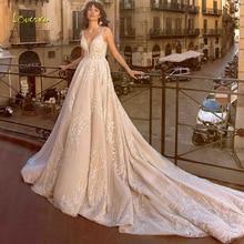 Loverxu col en v une ligne robe de mariée Chic Applique perles réservoir manches dos nu robe de mariée cathédrale Train robe de mariée grande taille