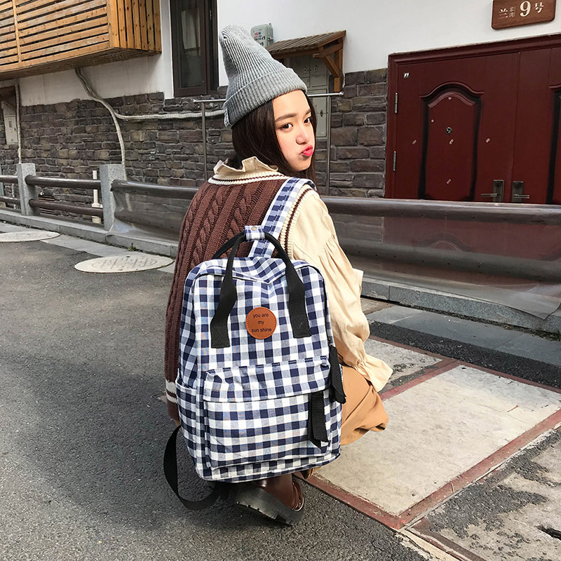 Miyahouse New Fashion Plaid Design Backpacks Female Canvas Casual Travel Rucksack Preppy Style Teenager Girls School Bag new design women bag denim backpack preppy style school backpacks for teenagers girls fashion casual travel bags rucksack a0284