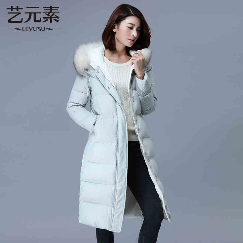 2015 New Hot Winter Cold Warm Woman Down jacket Coat Parkas Outerwear Hooded Raccoon Fur collar Simple Long Plus Size XL High 2015 new winter warm cold woman down jacket coat parkas outerwear luxury hooded raccoon fur collar long plus size xl straight