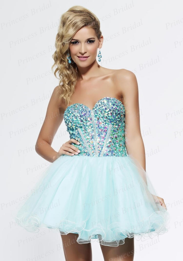 Short Poofy Blue Prom Dresses