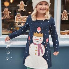 hot deal buy 2018 kids christmas dresses long sleeve cotton a-line dresses snowman cartoon child clothes girls dresses princess costume