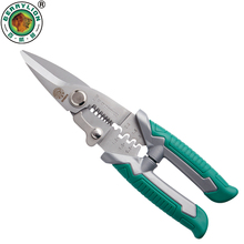 Купить с кэшбэком BERRYLION 210mm Crimping Pliers 3 in 1 Multitool Wire Stripper Cutting Cable Garden Twigs Leather For Electricians Crimping Tool