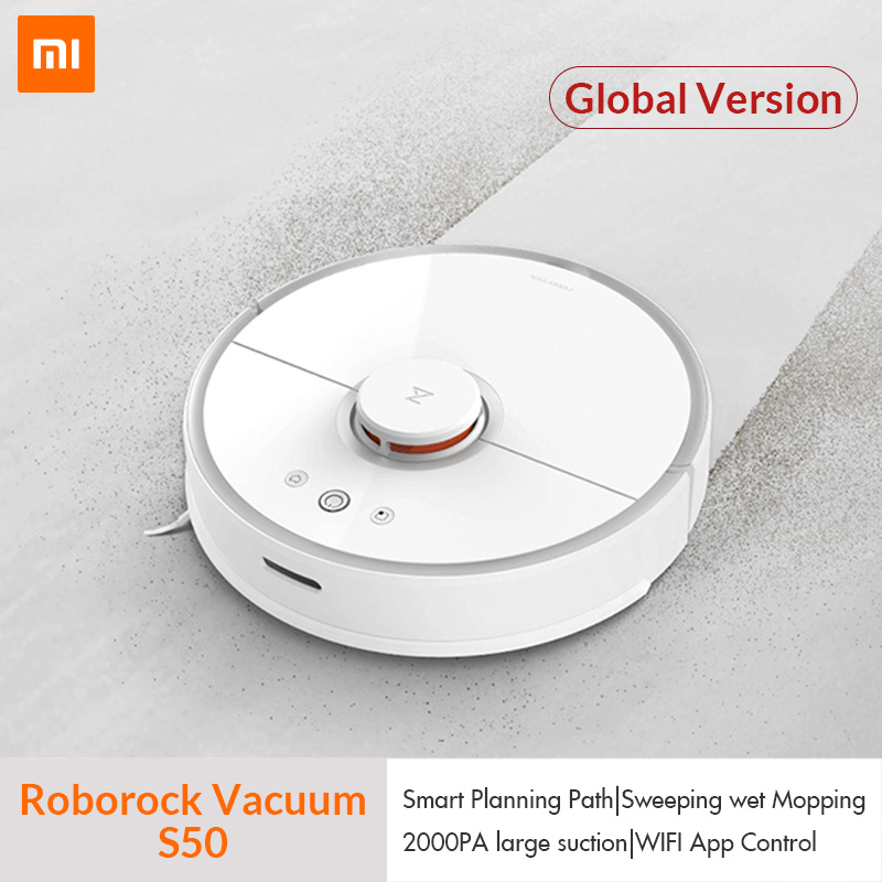 International Version Xiaomi Mijia Roborock Vacuum Cleaner 2 S50 Auto Area  Cleaning Suction 2in1 Sweeping Mopping LDS Path Plan