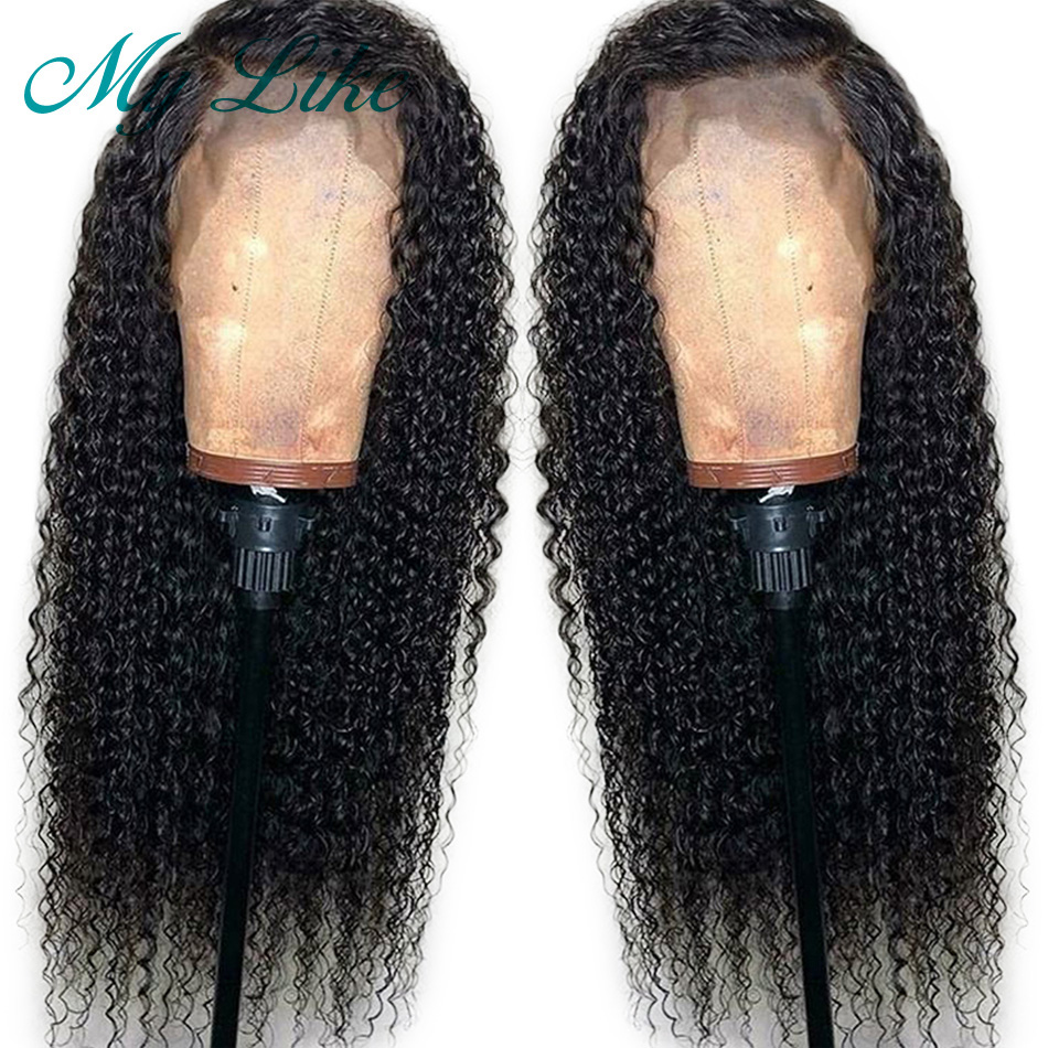 My Like Kinky Curly Lace Front Human Hair Wigs Brazilian Remy Hair 360 Lace Frontal Wigs Pre Plucked with Baby Hair 180% Density(China)