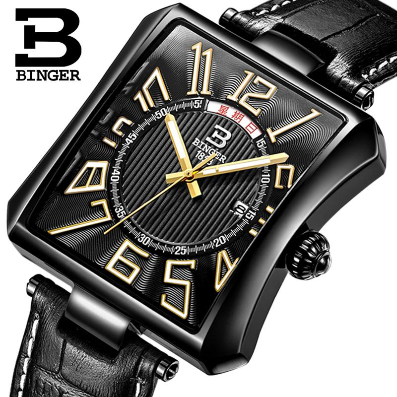 Switzerland BINGER men's watch luxury brand Tonneau Quartz waterproof leather strap Wristwatches B3038-3 switzerland binger men s watch luxury brand tonneau quartz waterproof leather strap wristwatches b3038