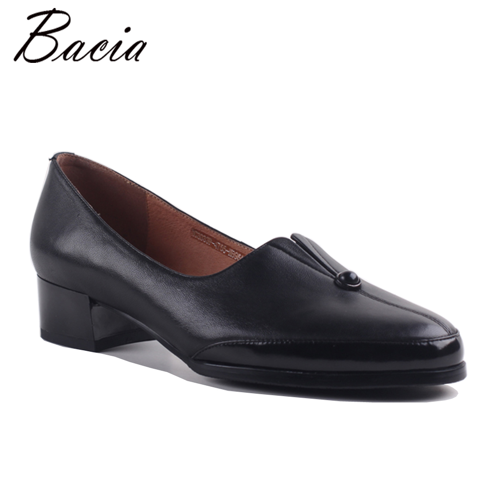 Bacia Luxury Classic Leather Shoes Black Retro Round Toe Slip-On Shallow Flats Brand Female Footwear Shoes for women New MXA003 2017 brand new fashion spring women big head shoes slip on loafers round toe casual shoes flats leather shallow boat shoes xa 87