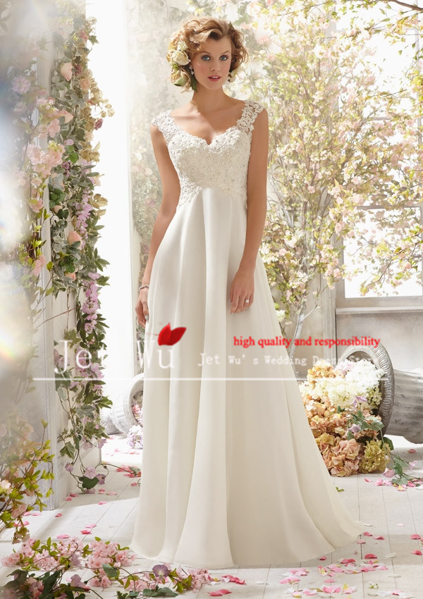 bridal 2014 new arrival casual cheap princess v neck appliques shoulder straps wedding dress gown for