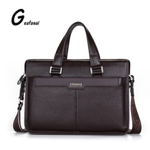 COUPON black brand P.KUONE genuine cow leather brown men handbags business style cowhide large briefcase Shoulder laptop bags