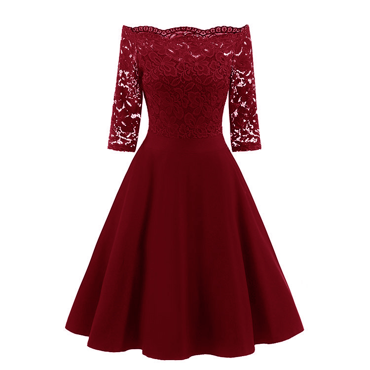 Sexy Off Shoulder Long Sleeve Burgundy Lace   Cocktail     Dresses   vestidos elegant Short Formal   Dress   party 2019 Homecoming   Dress