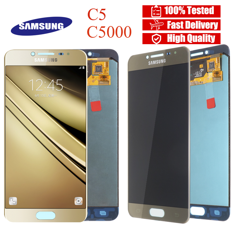 Original 5 2 Super AMOLED LCD Display for SAMSUNG Galaxy C5 LCD Display C5000 LCD Touch