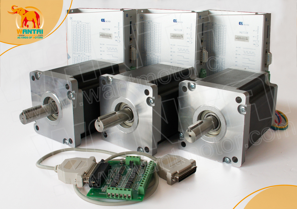 цена на (Germany Ship &Free) CE, Rosh Certificate 3Axis Nema 42 Wantai Stepper Motor 4200oz-in, 8A 110BYGH201-001 CNC & 220V Driver Mill