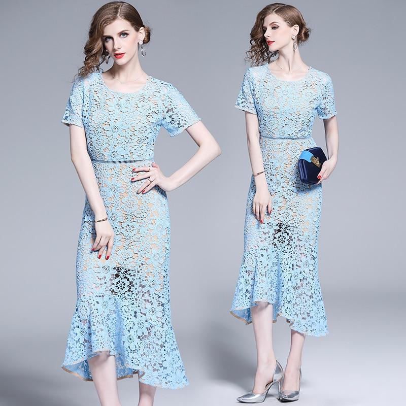 Femmes femme dames Designer été à manches courtes Crochet bleu dentelle mince fête décontracté Cocktail sirène midi bureau travail porter robe