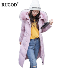 RUGOD 2019 new fashion jacket women Large raccoon fur collar hooded coat warm parkas