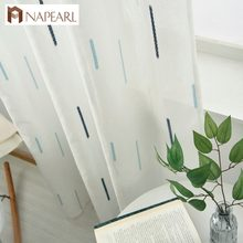 Modern geometric faux linen curtain semi-sheer jacquard curtain drop Striped simple tulle curtain living room custom made ready(China)