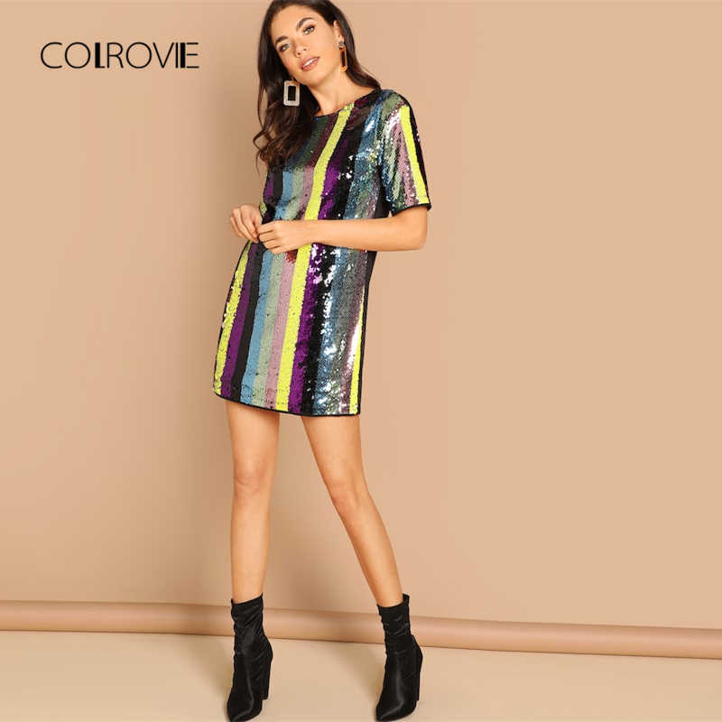 COLROVIE/разноцветная туника в полоску, сексуальное платье с пайетками, женская одежда, весна 2019, короткий рукав, модное, корейское, Клубное, мини, вечерние платья