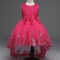 2017 Red Girls Lace Dress With Tails Flower Girls Wedding Dress Bow Kids Sequins High Low