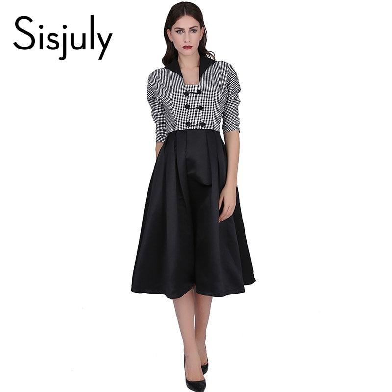 Sisjuly vintage dress patchwork retro 1950 s estilo mujeres vestido de noche ves