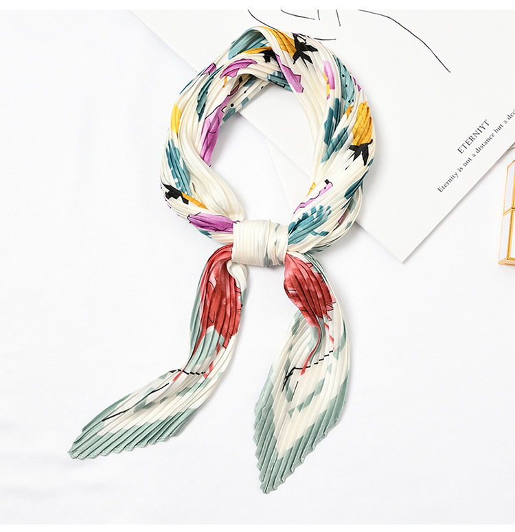 Yishine 6colors Wrinkle Neck Scarf Women Flamingo Print Fashion Crepe Kerchief Scarves New Headband Crumple Handlebag Wraps Sca