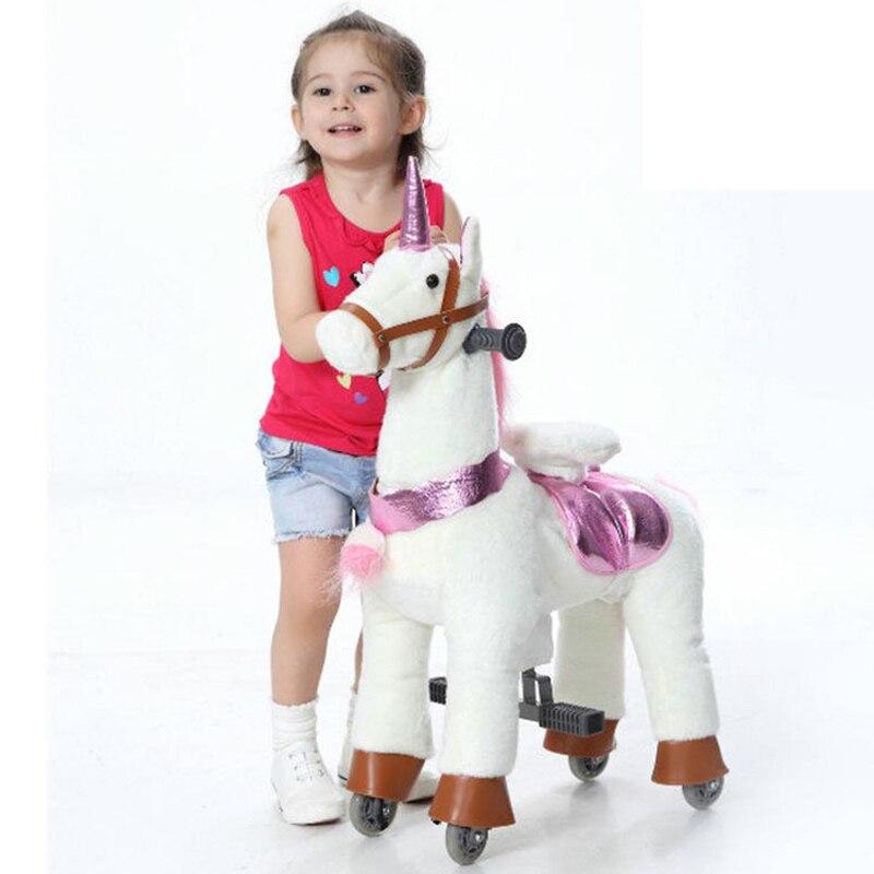 Peluche Cavallo Meccanico Ride-on Scooter per 3-7 Anni di Età I Bambini di Divertimento Unicorn Pony Ragazzino Passeggiate A Cavallo regali su Ruote