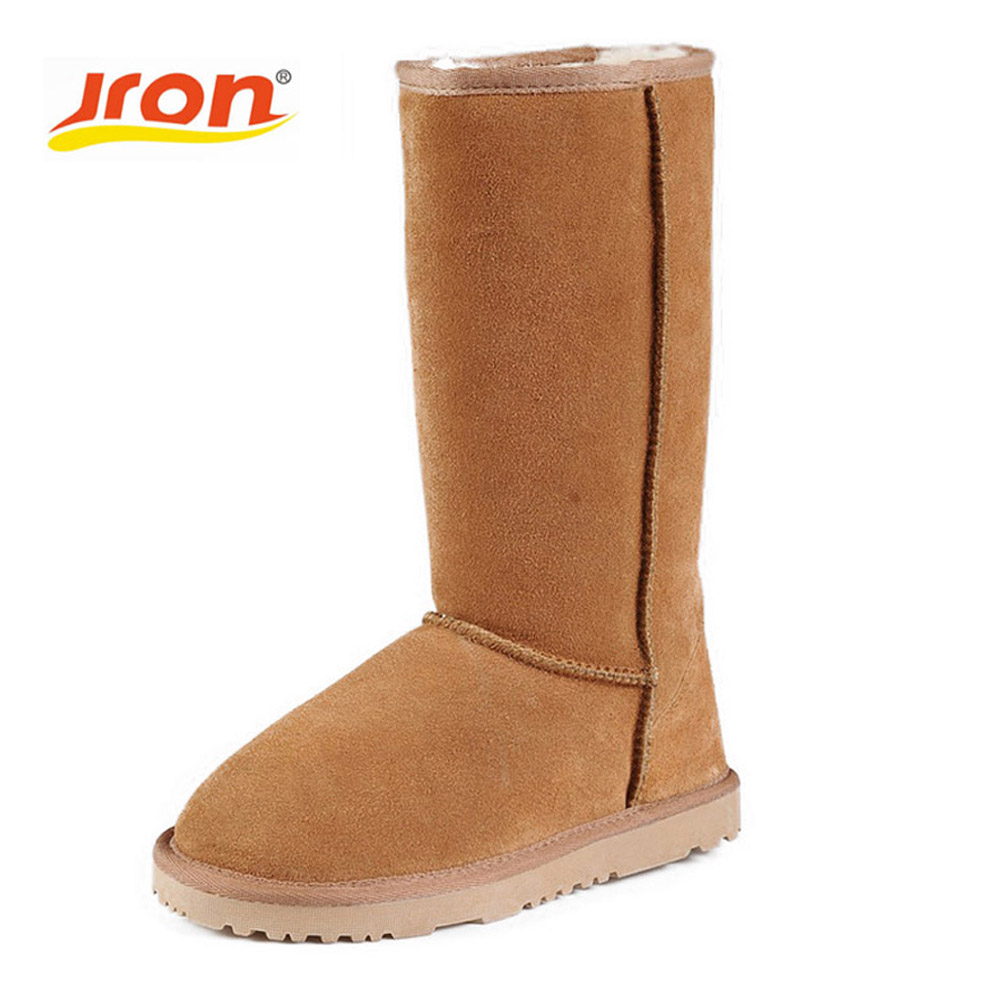 Jron 25cm Cassic Suede Real Sheepskin Leather Fur Lined Rubber Sole Winter Snow Boots For Women Winter Shoes 35-40 inoe fashion fox fur real sheepskin leather long wool lined thigh suede women winter snow boots high quality botas shoes black