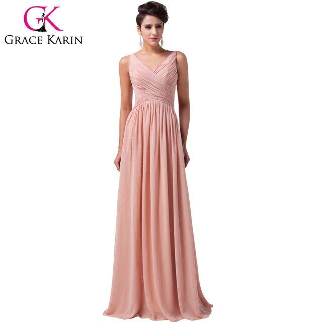 the latest 38789 31ca5 US $57.85 |2018 Grazia Karin economici vestiti Lunghi Da Promenade Abito  Formale Increspato Chiffon Donne Vestito elegante blu Anguria Rosso Verde  ...