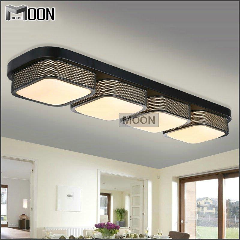 Rectangle Modern Ceiling Lights Bedroom Black Shade Flush