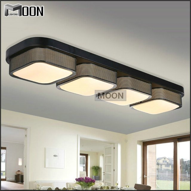 Rectangle Modern Ceiling Lights Bedroom Black Shade Flush Mounted Acrylic Led Lamp Fixture For