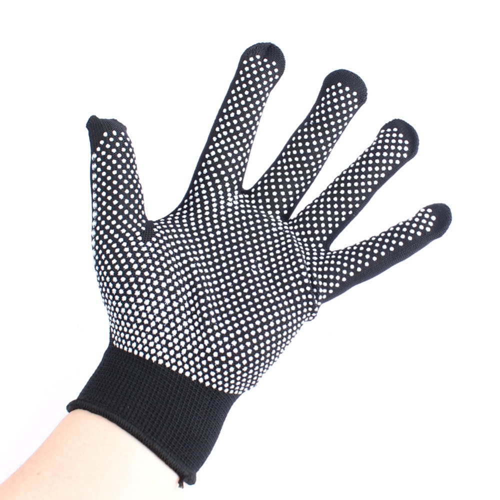 HOT Sale 1 Pair Hair Straightener Perm Curling Hairdressing Heat Resistant Finger Glove Black Grey Color #82683 4