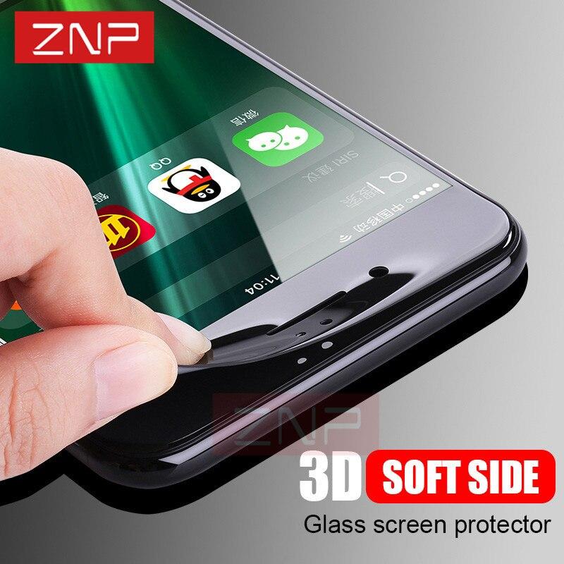 ZNP 3D <font><b>Curved</b></font> <font><b>Soft</b></font> <font><b>Edge</b></font> <font><b>Full</b></font> Tempered Glass <font><b>For</b></font> iPhone 7 7 Plus Screen Protector Film <font><b>For</b></font> iPhone 8 6 Plus 6 Tempered Glass Cover